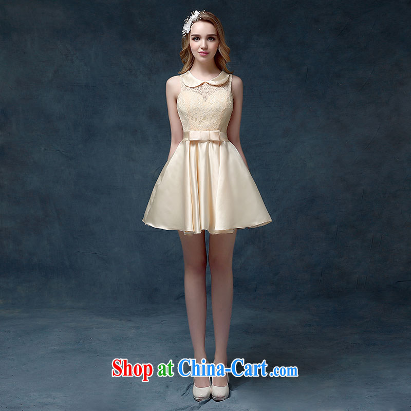 According to Lin Sha 2015 spring and summer new wedding dress short-sleeved dresses women serving toast short classic bridesmaid clothing Korean champagne color XL