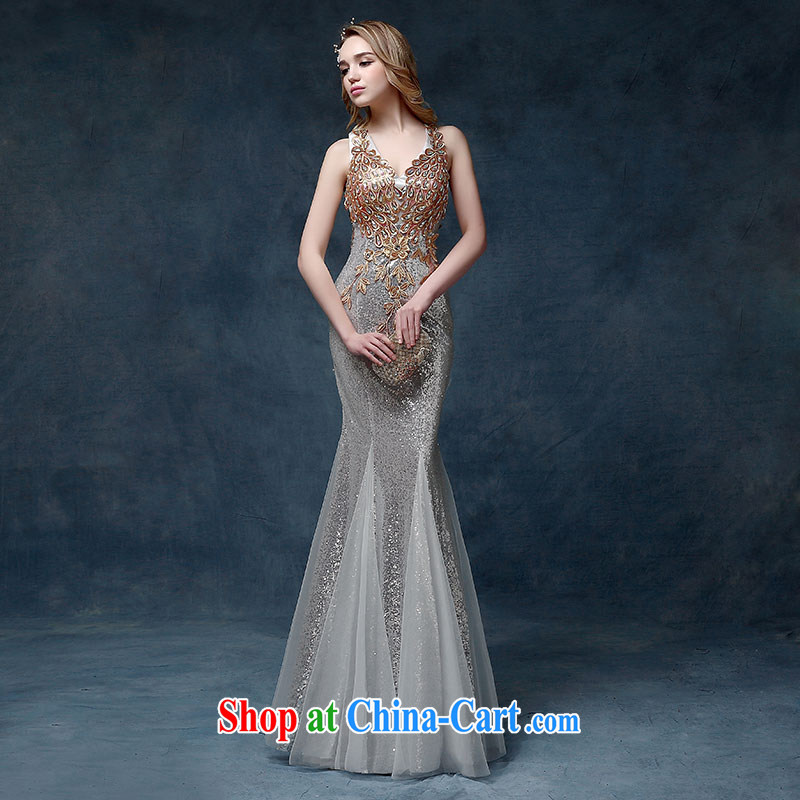 2015 New Evening Dress long dual-shoulder cultivating crowsfoot marriages served toast Dinner hosted annual Silver Dresses XL