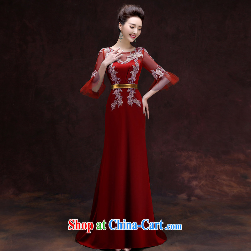 A good service is 2015 new, banquet Toastmaster of the evening dresses long stylish bridesmaid dress uniform dress female Red 2 XL