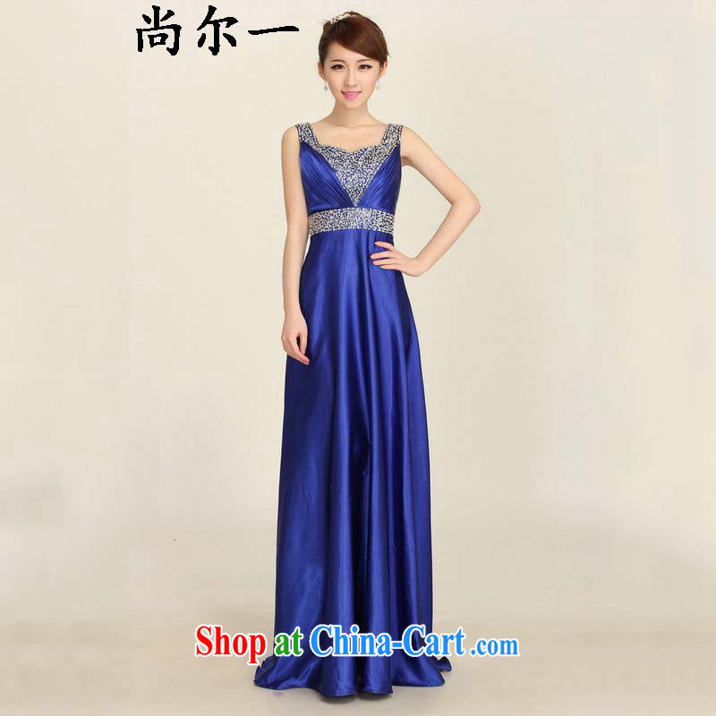 Optimize Philip Wong Yu-hong 2015 summer New Long marriages bows dress shoulders nails Pearl bridesmaid evening dress ylf 001 royal blue XXXL