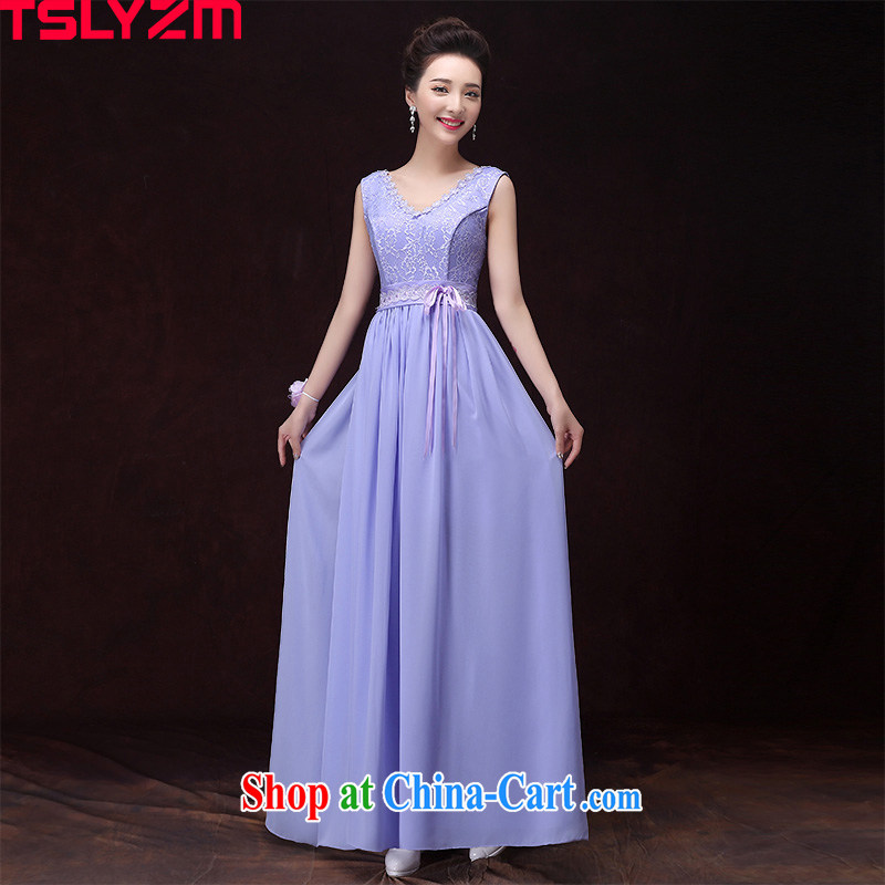 Tslyzm bridesmaid dress long, light purple Evening Dress dress sister's dress 2015 new spring and summer hosted performances dress D dual-shoulder V collar XXL