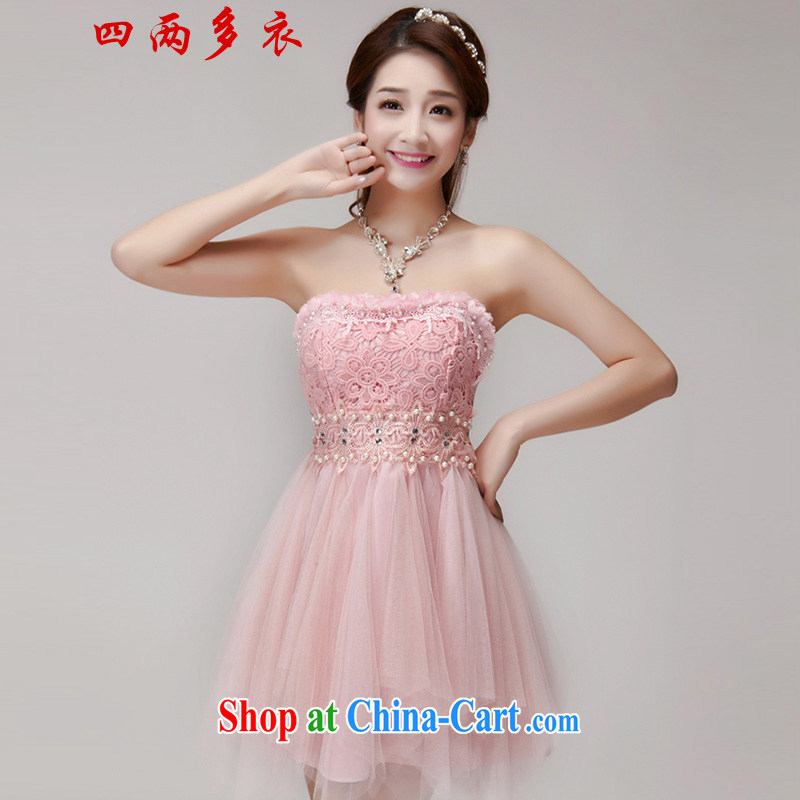 42 multi-yi 2015 summer staple manually inserts pearl cultivation drill dresses bridesmaid group aura erase chest dress 1564 pink L
