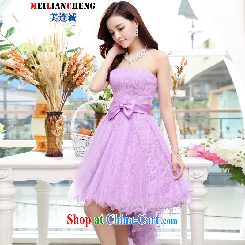 Even the US and 2015 new women summer wrapped in the breast long skirt sleeveless large-dress dresses purple XL
