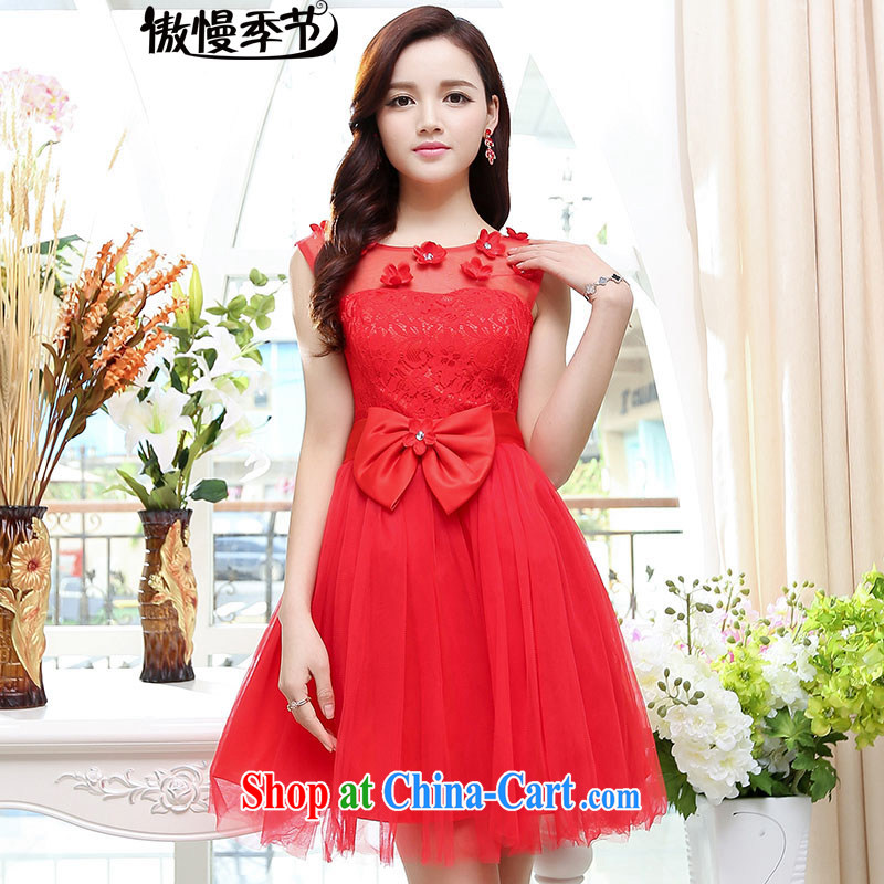 Arrogant season 2015 summer elegant lady snow woven embroidery sleeveless dresses dress the skirt with sister bridesmaid clothing red XL