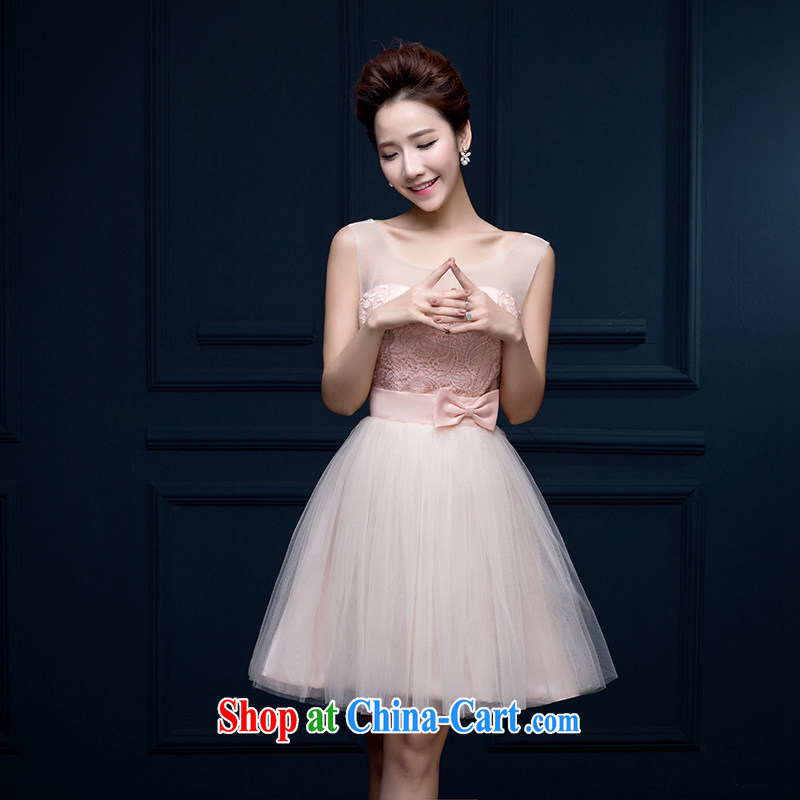 Qi wei pink short dress bridesmaid wiped his chest single shoulder dress wedding girls pink C dual-shoulder L