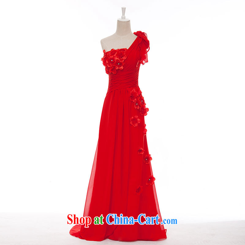 Jubilee 1000 bride 2015 spring and summer new single shoulder-length, small tail champagne color dress bride wedding toast L serving 678 red 30CM small tail increase XXXL/26