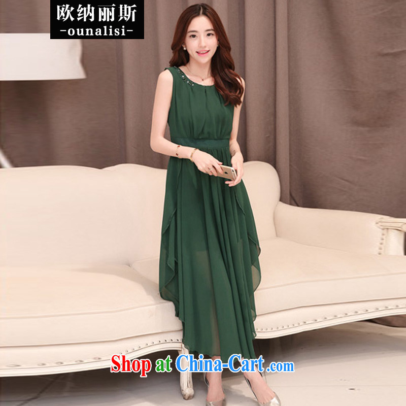 In her 2015 stylish new products summer simple graphics thin does not rule out a sleeveless, long, snow-woven dresses Princess dress bridesmaid dress evening dress dark XXL