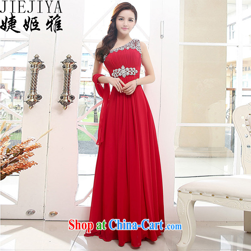 With Ji Ya 2015 new wedding dresses bridal wedding toast service beauty fashion long bridesmaid dress wine red XL