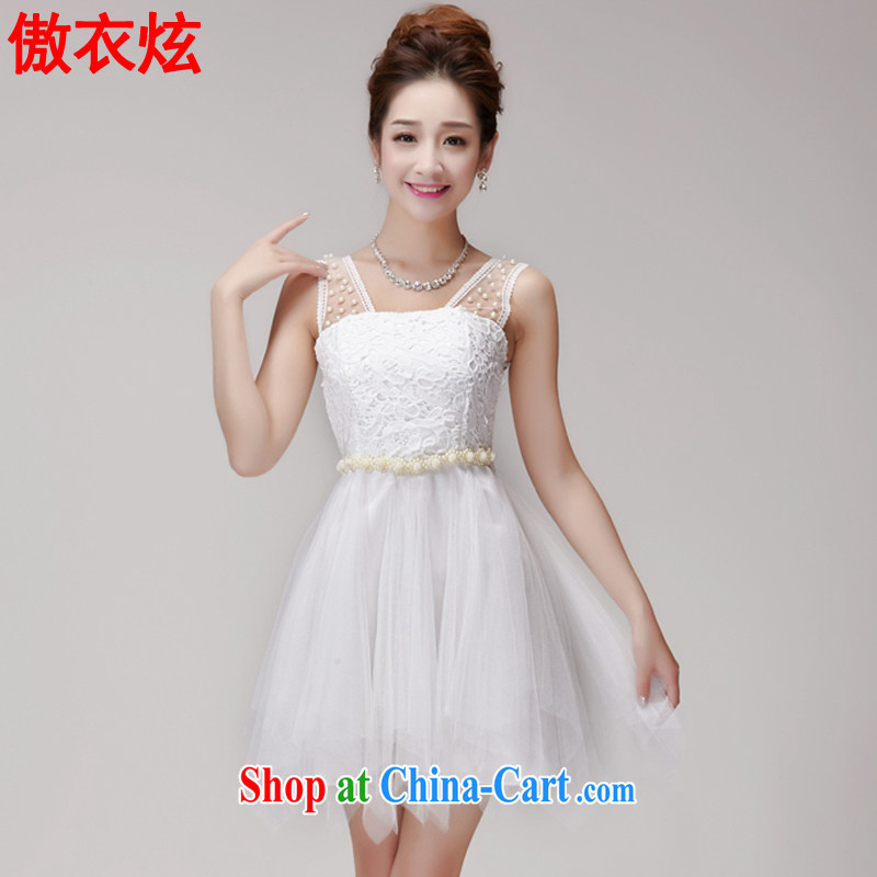 As well as clothing and cool 2015 summer lace hook spent manually staple Princess Pearl shaggy dress yarn Web elastic waist dress dress L 9210 white L