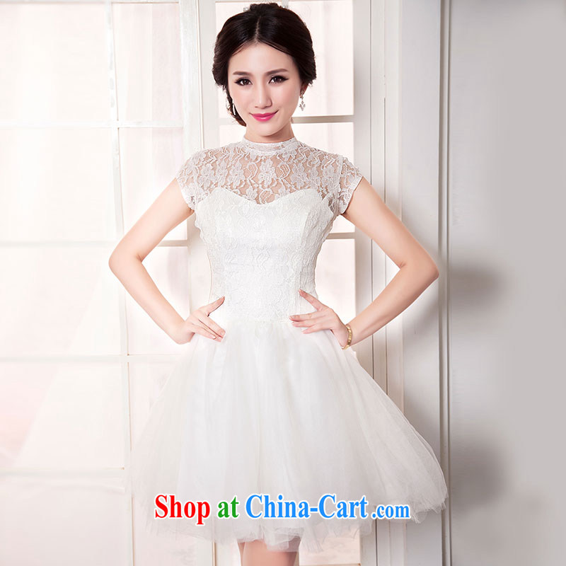 Jubilee 1000 bride 2015 new French white lace mini dress short shoulders sister's Korean bridesmaid clothing stylish shaggy skirts D 6046 white XXXL_24