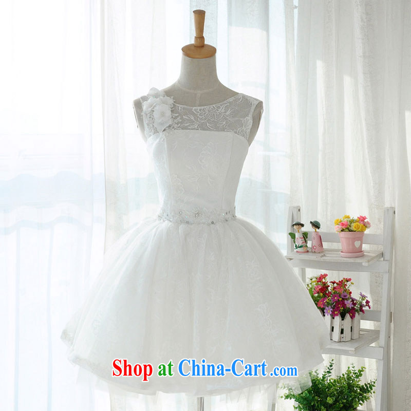 1000 Jubilee 2015 brides new short lace shoulders small white dress bridesmaid dress bridal wedding band performances shaggy skirts D 6008 white XXXL/24
