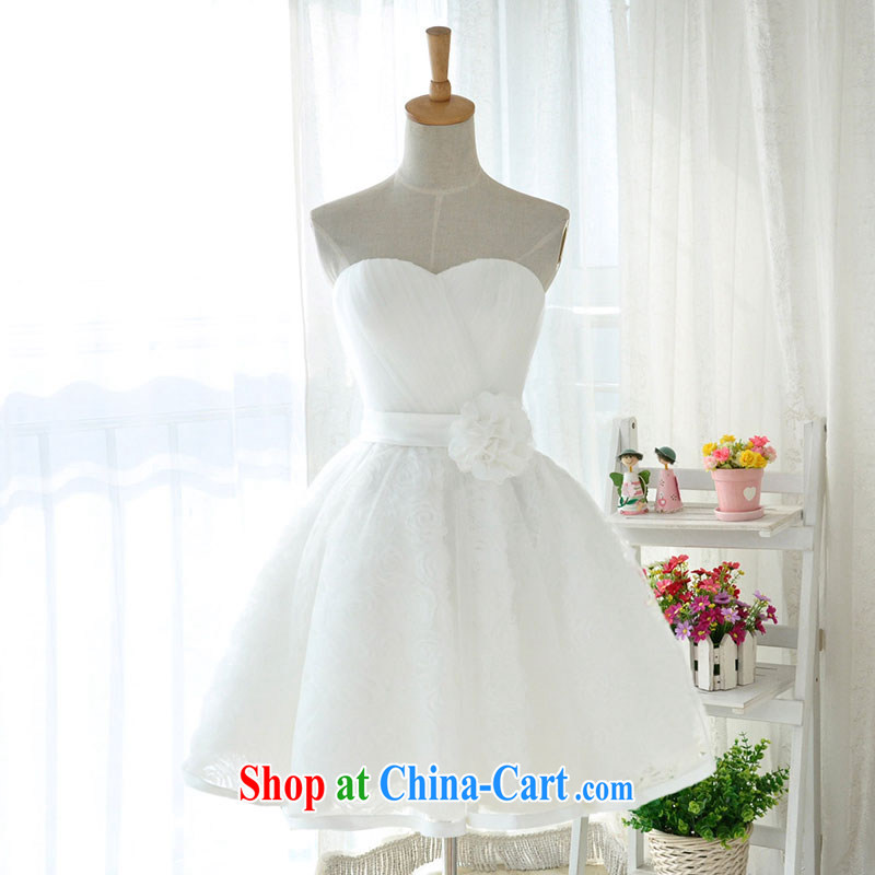 Jubilee 1000 bride 2015 new Korean white lace bare chest flowers small dress short erase chest sister's bridesmaid D service 6005 white XXXL_24