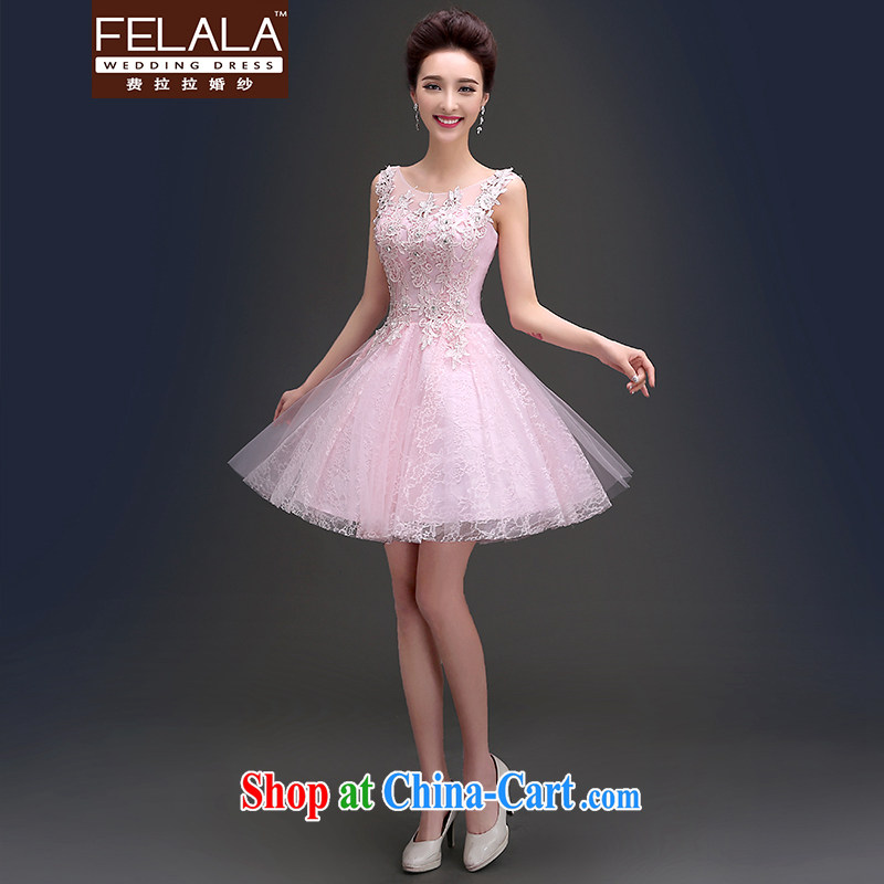 Ferrara 2015 summer new fresh sweet round-collar back exposed Openwork lace short dress M Suzhou shipping