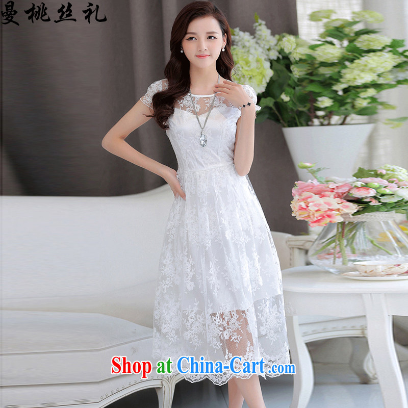 Cayman business, Gift wedding dress summer new Korean fashion beauty lace short-sleeved dresses bridal wedding dress back door toast bridesmaid replace white XXL