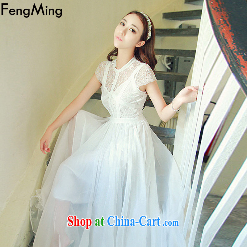 Abundant Ming summer 2015 Ching Ching Sau lace Openwork dress long skirt ultra-sin, drag snow woven large dresses white L