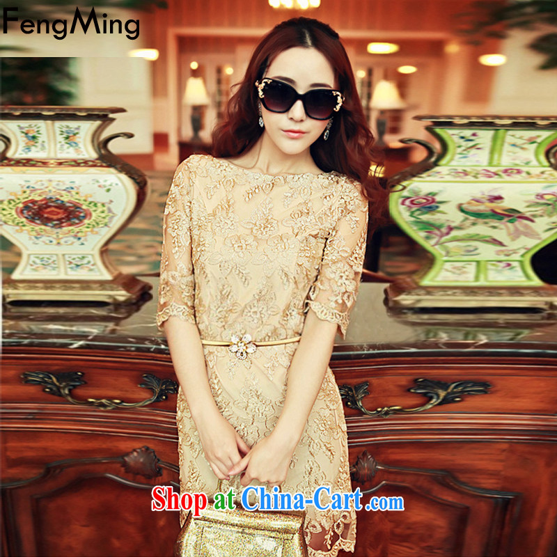 Abundant Ming Ching Ching with summer 2015 new elegant gold thread embroidered Web yarn lace dresses girls picture color XL