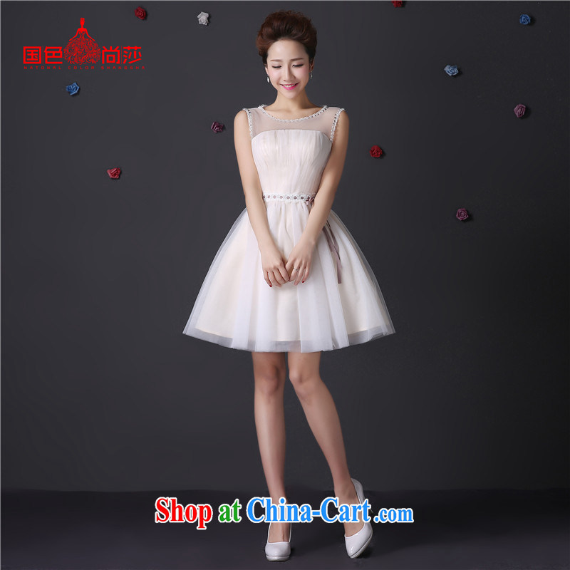 The color is still SA 2015 summer bridesmaid dress with real-time pictures taken short shoulders champagne color bridesmaid dress birthday party dress shaggy dress moderator dress champagne color Short M