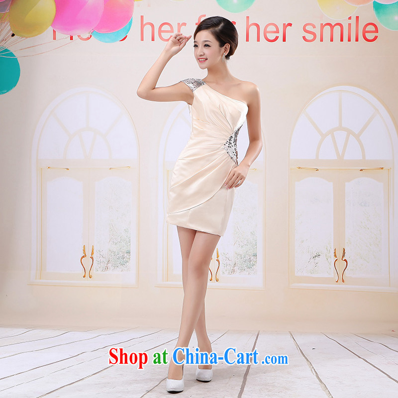 White first about the shoulder bridal toast serving marriage banquet dress short 2015 cultivating new bridesmaid clothing girls spring and summer white XL