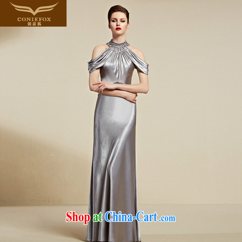 Creative Fox Evening Dress 2015 new mount also dress long fall evening dress evening dress woman dress dress toast model dress 30,808 light gray S