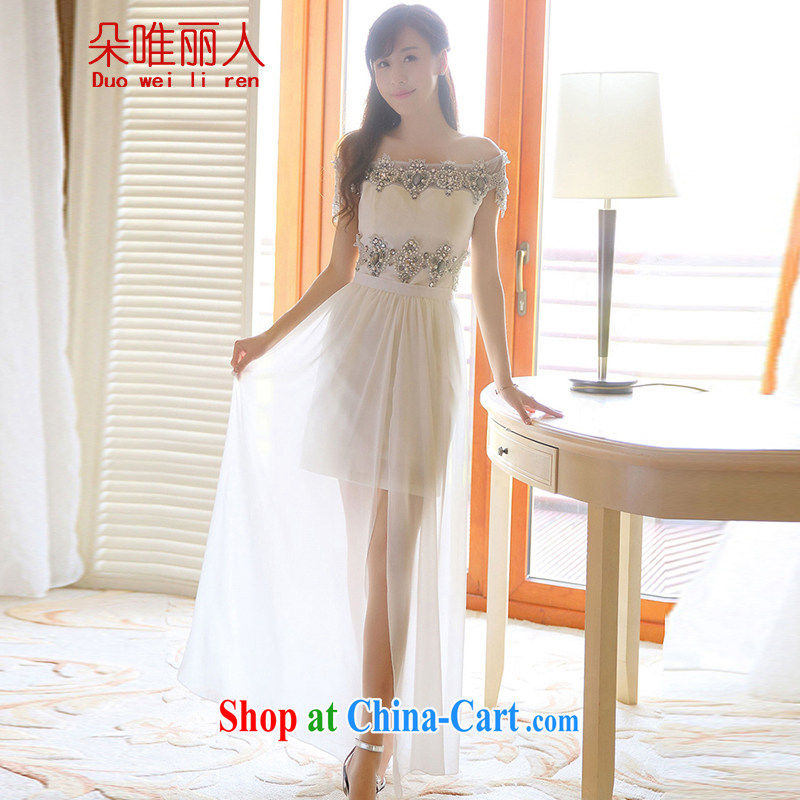 The flowers were 2015 summer Korean drill nails Pearl inserts drill short name Yuan dress skirt summer dress 609 white