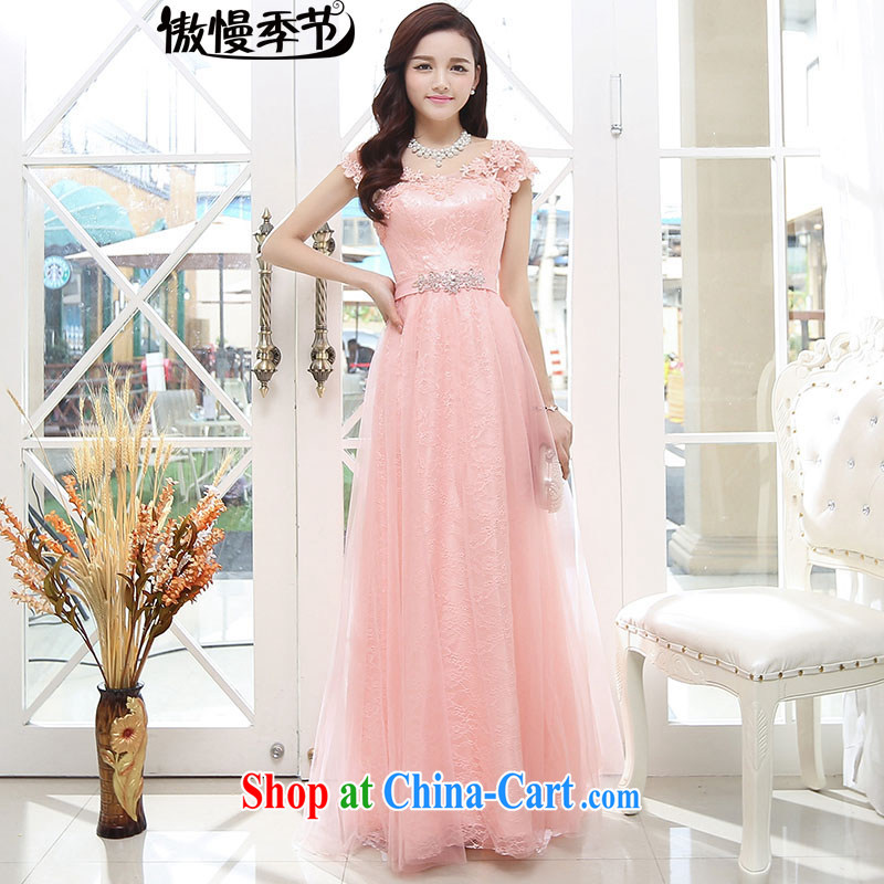 2015 summer new Korean Beauty graphics thin dresses bridal dress banquet dress uniform toast long skirt girl pink XL