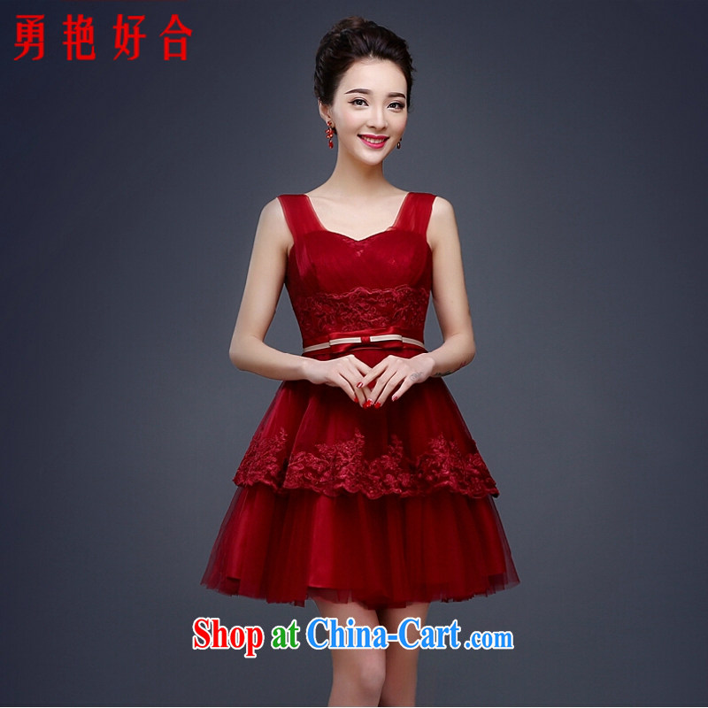 Yong-yan and Evening Dress 2015 new spring red bows Service Bridal Fashion wedding dress short summer cultivating shoulders deep red M