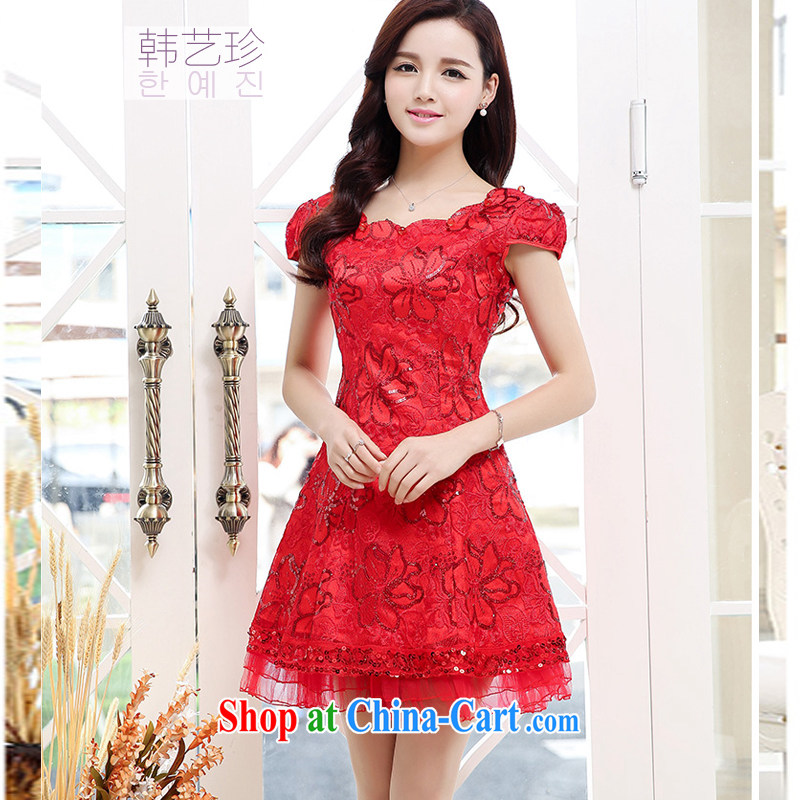 Han-yi 2015 summer Chinese short small dress wedding dinner bridal toast serving the door Red video thin beauty-yi skirt red XXL