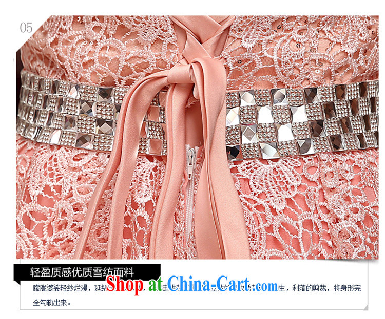 Time His pink long dress 2015 new spring and summer lace marriages the marriage and late Women's clothes chest bare wood drill performance service dress pink XL pictures, price, brand platters! Elections are good character, the national distribution, so why buy now enjoy more preferential! Health