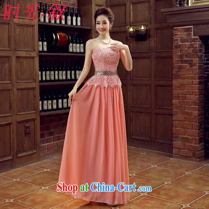Time His pink long dress 2015 new spring and summer lace marriages the marriage and late Women's clothes chest bare wood drill performance service dress pink XL