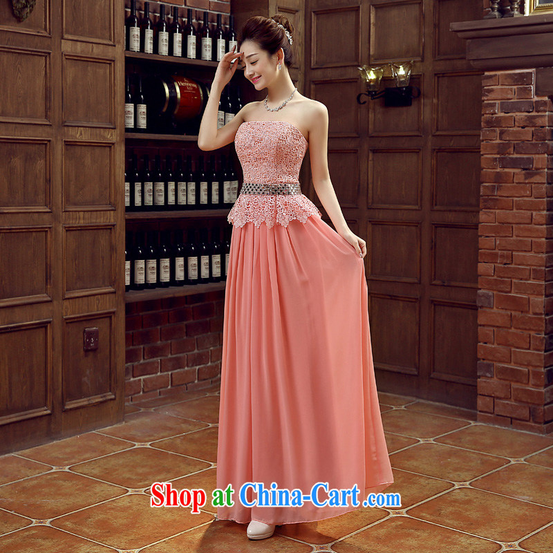 Time His pink long dress 2015 new spring and summer lace marriages the marriage and late Women's clothes chest bare wood drill performance service dress pink XL, time, and shopping on the Internet