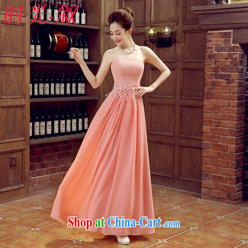 Syria Time bridesmaid dress long, sister dress bridal evening dress wedding banquet dress 2015 new spring and summer bridesmaid in the wedding dresses pink XXL