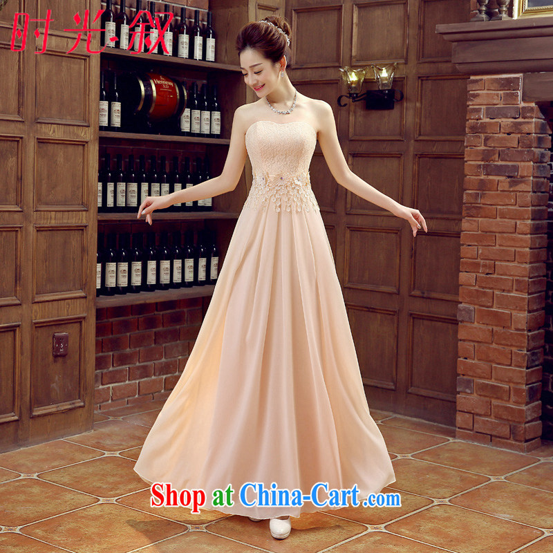 Time his champagne color bridesmaid dresses in purple spring and summer long evening dress wedding bridesmaid sisters served as Car Show bridal toast Stage service evening dress champagne XXL