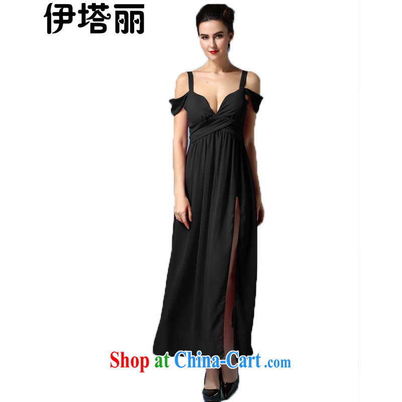 The Lai 2015 spring and summer, the Korean version of the greater code beauty graphics thin sexy high fork dresses evening dress dress dress long skirt black XL