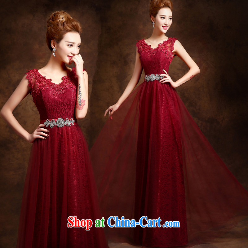 Pure bamboo yarn love 2015 New Red bridal wedding dress long evening dress evening dress uniform toasting Red double-shoulder dresses beauty deep red tailored contact Customer Service
