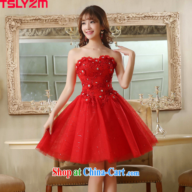 Tslyzm bridal toast dress skirt new 2015 spring and summer short parquet drill manual take Korean version binding with small dress shaggy dresses red XXL