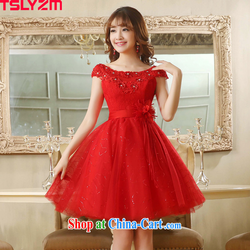Tslyzm bridal toast dress double-shoulder short 2015 summer New red floral skirts Korean manual water drilling small dress shaggy dress red XXL