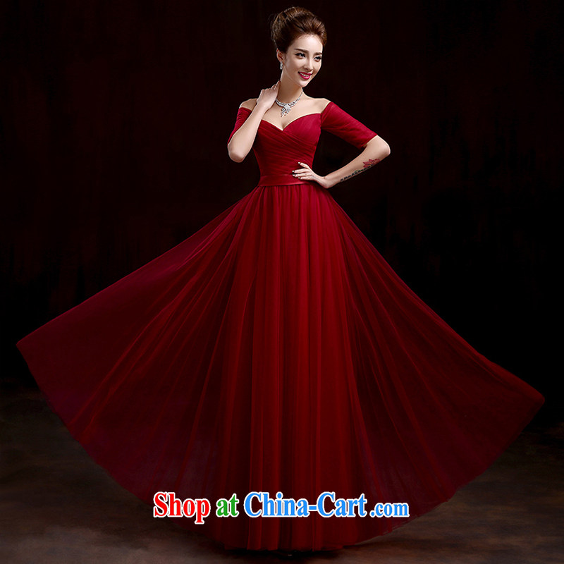 Pure bamboo yarn love 2015 New Red bridal wedding dress long evening dress Evening Dress toast only serve us in cultivating cuff dress dark red XXL