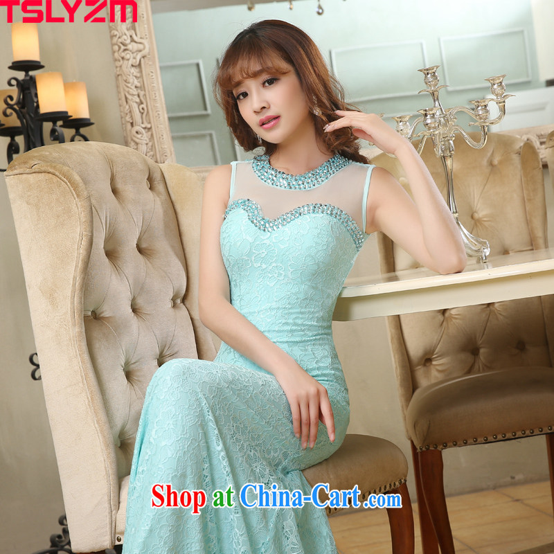 High Tslyzm crowsfoot dress long bridal wedding toast service 2015 new summer beauty fluoroscopy car show car models moderator female evening gown dress sober Lake blue XXL