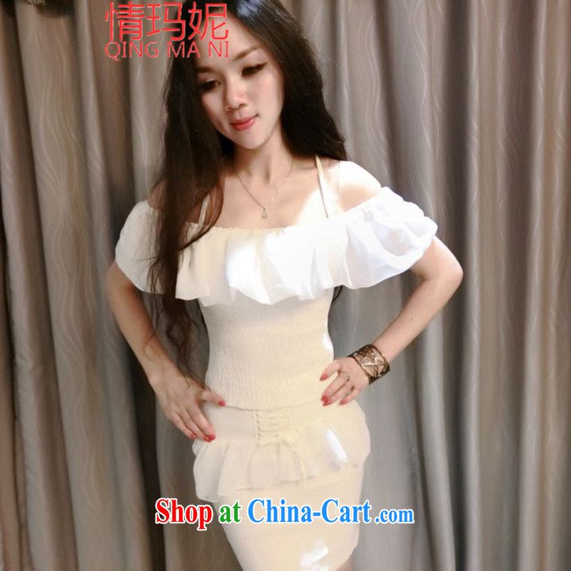 Love Princess Anne new aura field shoulder flouncing short T-shirt tie-package and body skirt package F 8990 white are code