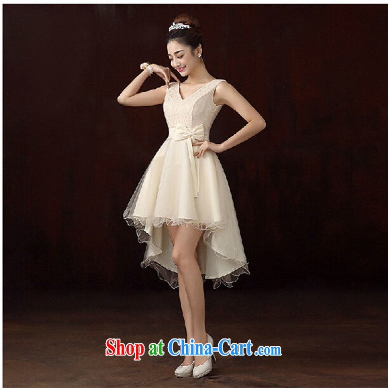 New toast bride serving the Short long dress long stylish red dress, wedding dress spring light yellow will do not return does not switch