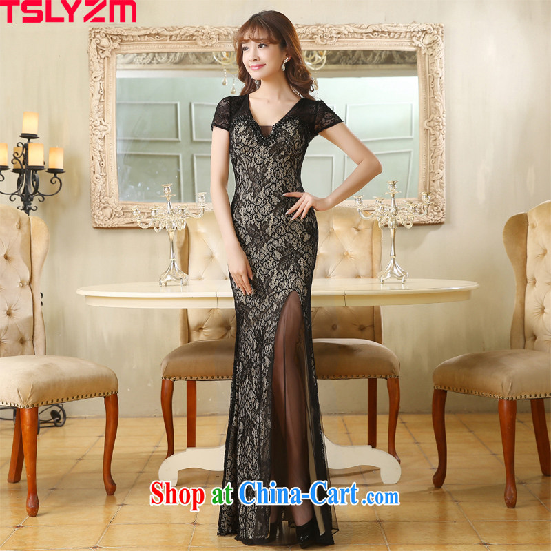 Tslyzm sexy V collar at Merlion dress summer 2015 new bride long bag and cultivating lace bows car service template welcome moderator Ladies black XXL