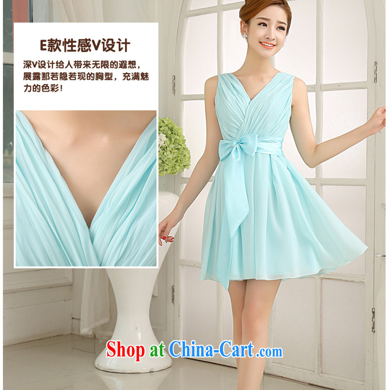 White first to approximately 2015 New Sky Blue double-shoulder bridesmaid dresses in short, sister's bridesmaid serving small dress dress bridesmaid dresses, E M