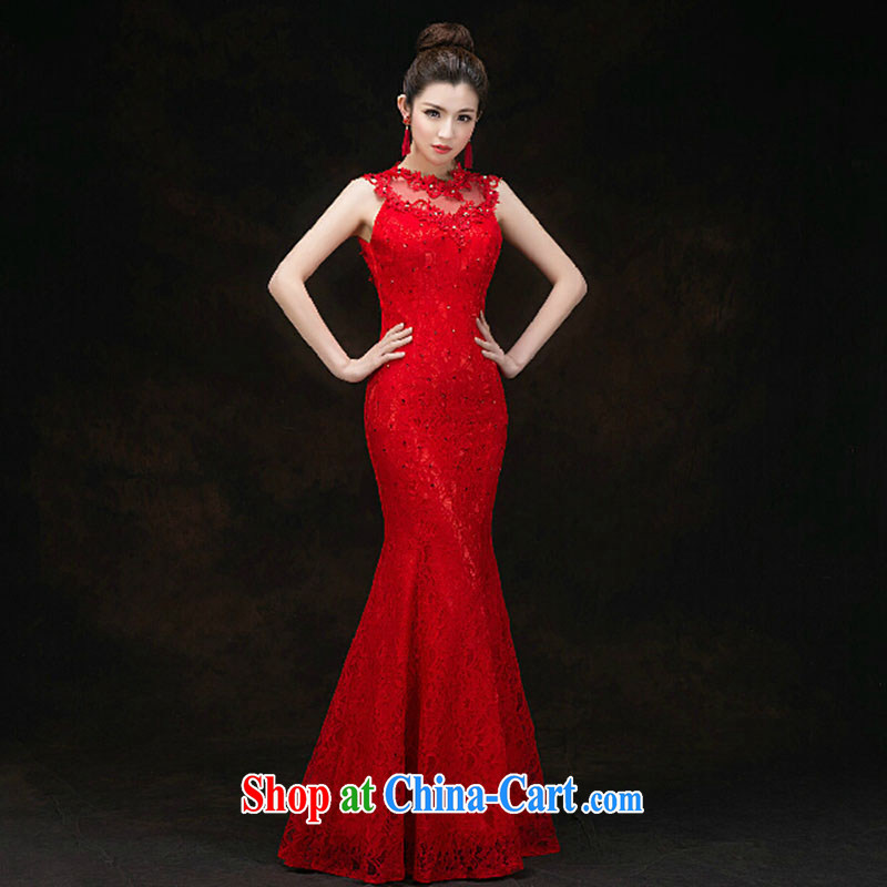 bridal dresses 2015 Spring and Autumn wedding bows dress long red crowsfoot package and back exposed lace evening dress spring and summer Red. Do not return does not switch