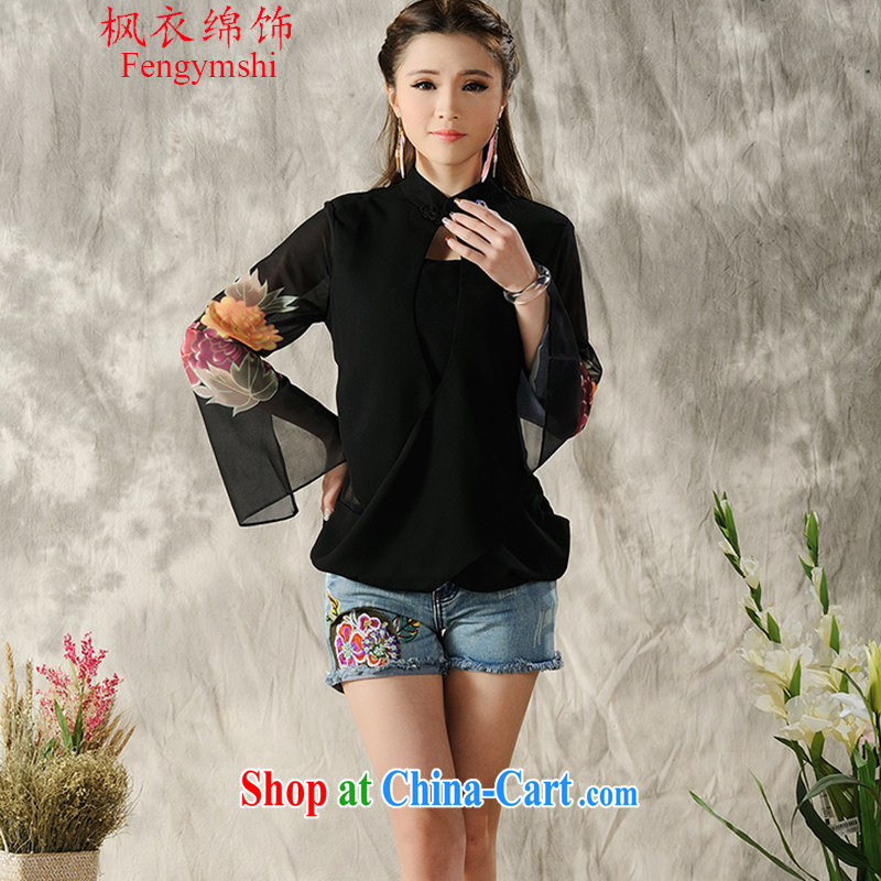 Feng Yi cotton trim 2015 new, hand-painted long-sleeved T-shirt cheongsam Chinese Spring Chinese Ethnic Wind women F A 1 033 black M .