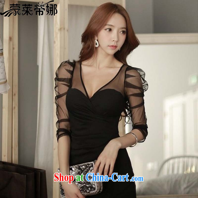 Tony Blair, in Dili, 2015 summer new style ceremony clothing collection black waist-deep sense V collar Web yarn tight dresses women 8096 black XL