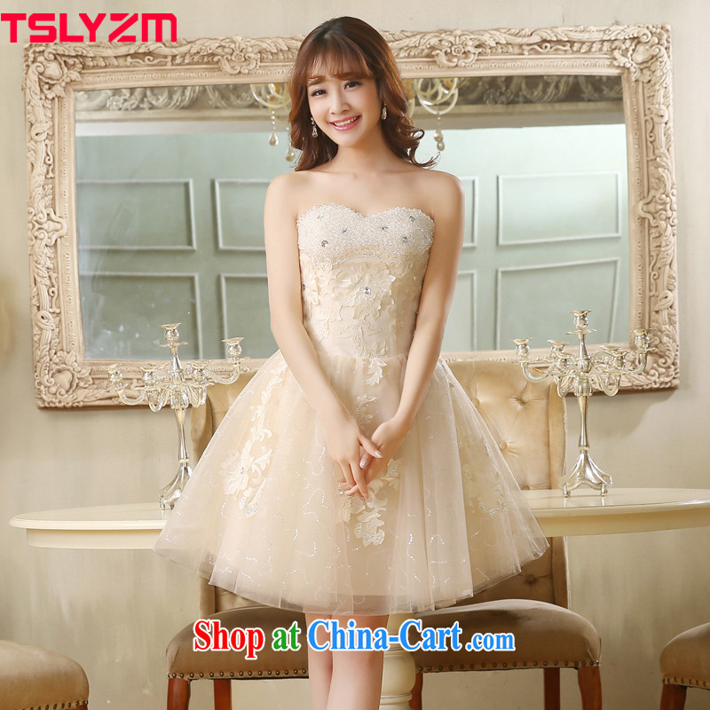 Mary Magdalene Tslyzm chest bridesmaid serving short wrapped chest champagne color gathering small dress shaggy skirts on drilling performance service hostess girls champagne color XXL