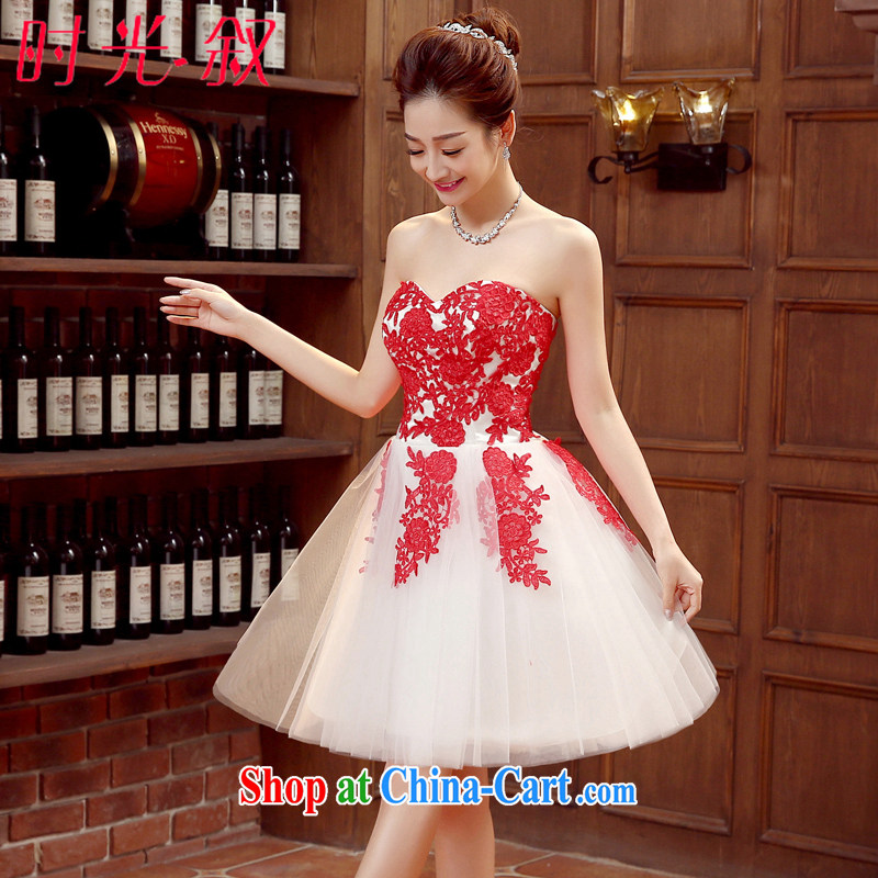 Time SYRIAN ARAB 2015 new bride's bare chest dress red toast serving red wedding wedding dress short lace chair concert dress dress red XXL
