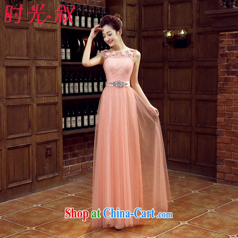 Time his 2015 spring and summer new bride toast clothing bare pink wedding wedding long dress moderator banquet evening dress evening dress shoulders car show dress bare pink L