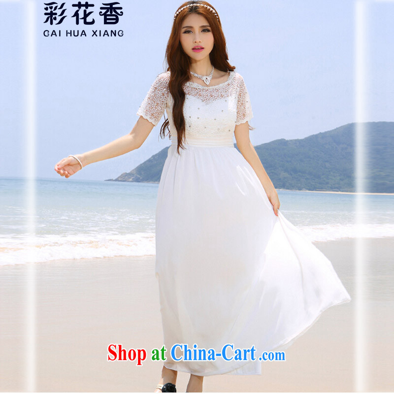 Colorful Flowers 2015 new Maldives beach dress wedding nails Pearl inserts drill dress bohemian long skirts 6041 white L