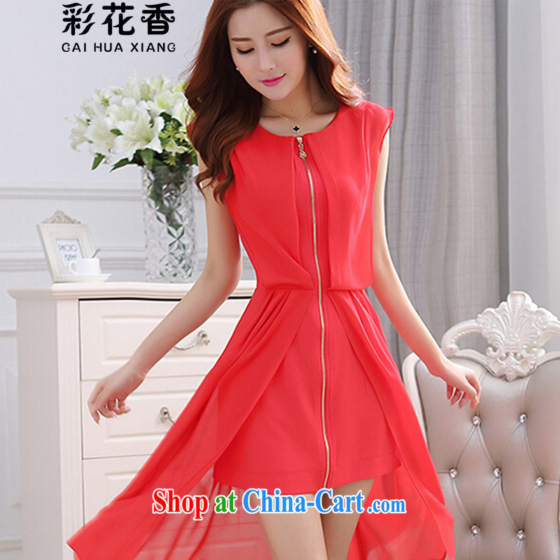 Colorful Flowers 2015 Korean lady sleeveless vest, long snow-woven dresses girls dresses girls skirts 9221 red XL